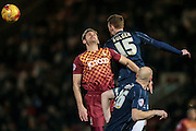 Nathan Clarke (Bradford City) and Cian Bolger (Southend United) during the Sky Bet League 1 match between Bradford City and Southend United at the Coral Windows Stadium, Bradford, England on 16 February 2016. Photo by Mark P Doherty.
