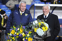 Football - 2019 / 2020 EFL Carabao (League) Cup - Quarter-Final: Oxford United vs. Manchester City<br /> <br /> Jeremy Charles of Oxford and Mike Summerbee of City with Reaths for the passing of Ex Oxford manager Jim Smith and Ron Saunders, at Kassam Stadium<br /> <br /> COLORSPORT/ANDREW COWIE