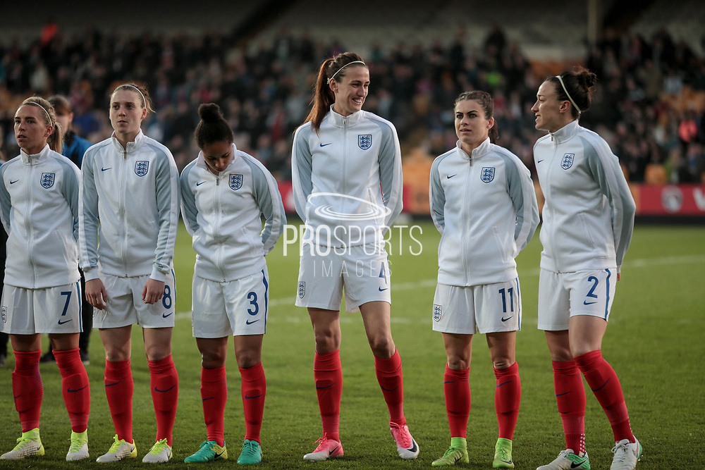 Jill Scott (England) (Manchester City) shares a joke with Lucy Bronze (England) (Manchester City). Shot includes Karen Carney (England) (Chelsea), Demi Stokes (England) (Manchester City), Jade Moore (England) (Notts County), and Jordan Nobbs (vice-captain) (England) (Arsenal) before the Women's International Friendly match between England Ladies and Italy Women at Vale Park, Burslem, England on 7 April 2017. Photo by Mark P Doherty.