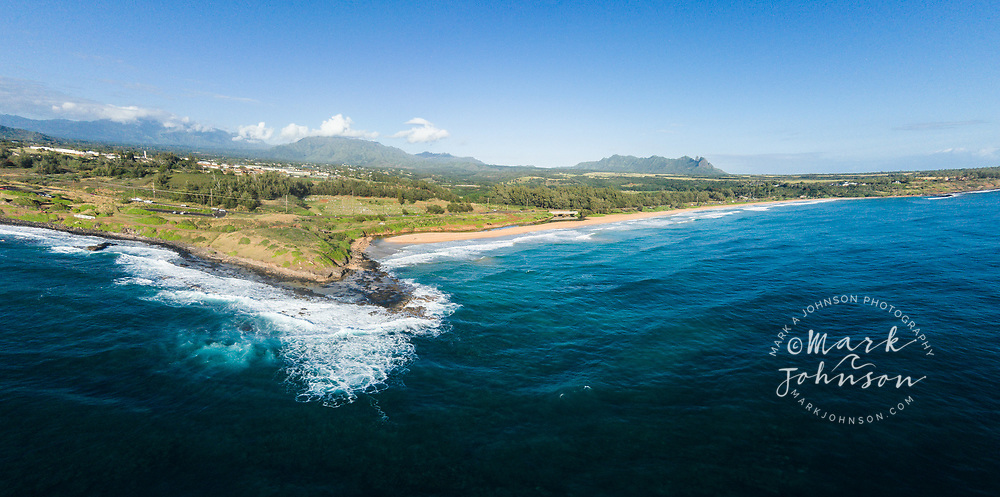 Aerial photograph of Kealia Beach, Kauai, Hawaii