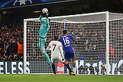Chelsea goalkeeper Thibaut Courtois (13) just beating Paris Saint Germain attacker Lucas (7) to the ball during the Champions League match between Chelsea and Paris Saint-Germain at Stamford Bridge, London, England on 9 March 2016. Photo by Matthew Redman.