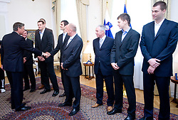 Danilo Turk, Goran Jagodnik, Domen Lorbek, Dusan Sesok, Iztok Rems, Jaka Klobucar, Uros Slokar of Slovenian basketball national team after Eurobasket 2009 at reception at president of Slovenia dr. Danilo Türk,  on September 28, 2009, in Presernova 8, Ljubljana, Slovenia.  (Photo by Vid Ponikvar / Sportida)