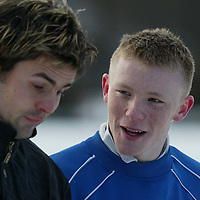 St Johnstone Training...03.02.03     Youngster Mark Baxter whose last minute goal salvaged a replay against Airdre tomorrow night training in the snow this morning with Paul Hartley.<br />see story by Gordon Bannerman.  Tel 01738 553978<br /><br />Picture by Graeme Hart.<br />Copyright Perthshire Picture Agency<br />Tel: 01738 623350  Mobile: 07990 594431