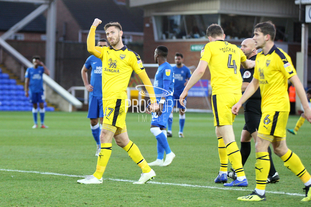 Oxford United's James Henry (17) celebrates his equaliser 1-1 during the EFL Sky Bet League 1 match between Peterborough United and Oxford United at London Road, Peterborough, England on 8 December 2018.