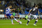 Nick Blackman threads a through ball during the Sky Bet Championship match between Reading and Derby County at the Madejski Stadium, Reading, England on 15 September 2015. Photo by David Charbit.