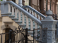 Entrances to townhouses on West 77th Street in New York City