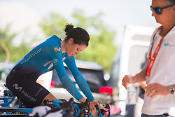 Alba Terual (ESP) of Movistar Women's Team warms up for Stage 1 of the Madrid Challenge - a 12.6 km team time trial, starting and finishing in Boadille del Monte on September 15, 2018, in Madrid, Spain. (Photo by Balint Hamvas/Velofocus.com)