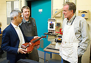 Sadiq Khan, the Mayor of London, officially launches Skills for Londoners &ndash; a new initiative that aims to ensure that all Londoners have the opportunity to train in the skills that the capital&rsquo;s economy needs.<br /> <br /> At South Thames College (Merton Campus) London Rd, Morden, Great Britain on 27th April 2017.<br /> <br /> The Mayor joins students at South Thames College (Merton Campus) who are learning how to repair motorcycles before seeking employment or setting up their own business.<br /> <br /> Sadiq Khan visits the violin workshop and meets Richard Elliston who made the violin he's holding <br /> <br /> <br /> <br /> <br /> Photograph by Elliott Franks <br /> Image licensed to Elliott Franks Photography Services