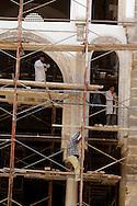 Egypt. Cairo -the complex of Sultan Al Mansour Qalawun - NM43- madrasa ,  mausoleum, hospital in Al Mu'izz street . Bayn al Qasrayn. renovation works. in the main courtyard and iwan . Cairo +