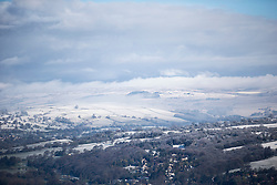 © Licensed to London News Pictures. 28/04/2016. Ilkley UK. Picture shows snow on the hills above Ilkley as Yorkshire woke to a covering of snow this morning. Photo credit: Andrew McCaren/LNP