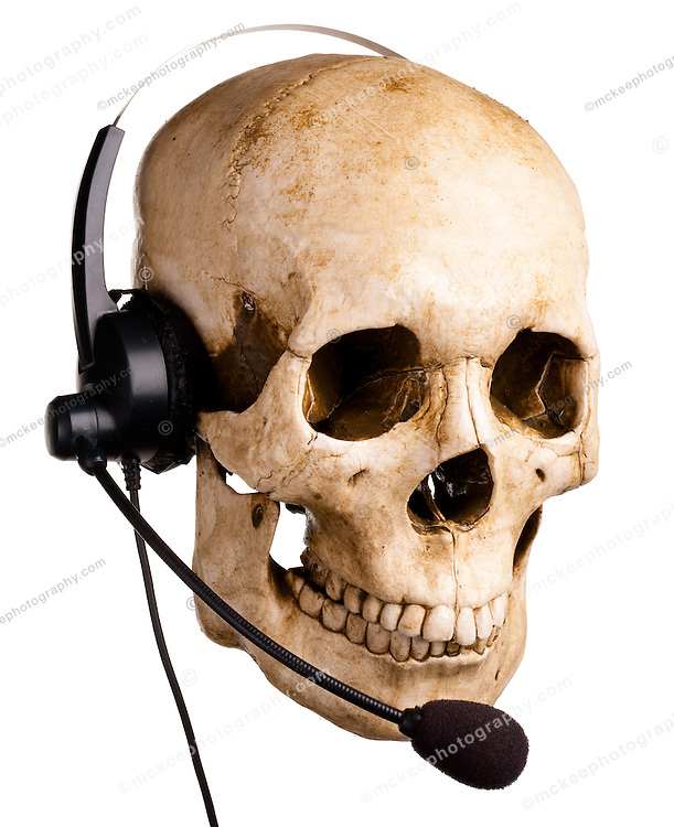 Skull and headset. Customer service.Its like talking to a dead person! Really! Slow hold music and all