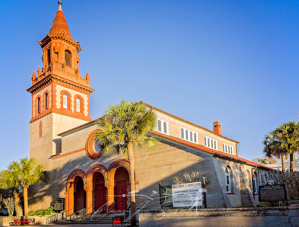 Grace United Methodist Church is pictured, March 21, 2016, in St. Augustine, Florida. The church was constructed by oil tycoon Henry Flagler between 1886 and 1887. It is built in the Spanish Renaissance Revival architectural style and is listed on the National Register of Historic Places. (Photo by Carmen K. Sisson/Cloudybright)
