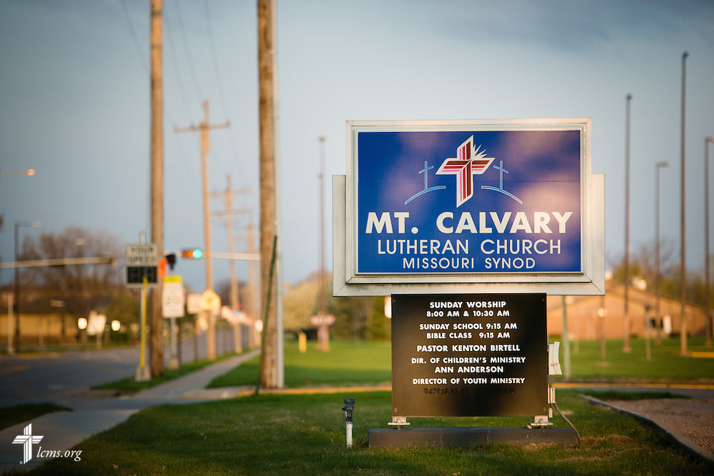 The sun rises Sunday, April 12, 2015, highlighting the welcome sign of Mount Calvary Lutheran Church in Holdrege, Neb. LCMS Communications/Erik M. Lunsford