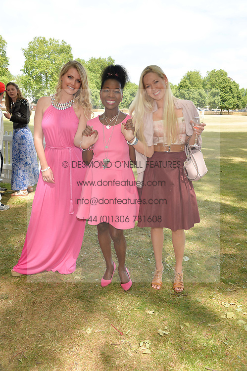 Left to right, LADY KITTY SPENCER, BARONESS BENJAMIN and BELINDA deLUCY McKEEVE at the Flannels For Heroes cricket competition in association with Dockers held at Burton Court, Chelsea, London on 19th June 2015