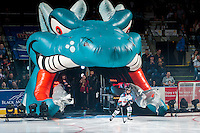 KELOWNA, CANADA - SEPTEMBER 24: The Pepsi Player enters the ice against the Kamloops Blazers on September 24, 2016 at Prospera Place in Kelowna, British Columbia, Canada.  (Photo by Marissa Baecker/Shoot the Breeze)  *** Local Caption *** Pepsi Player;