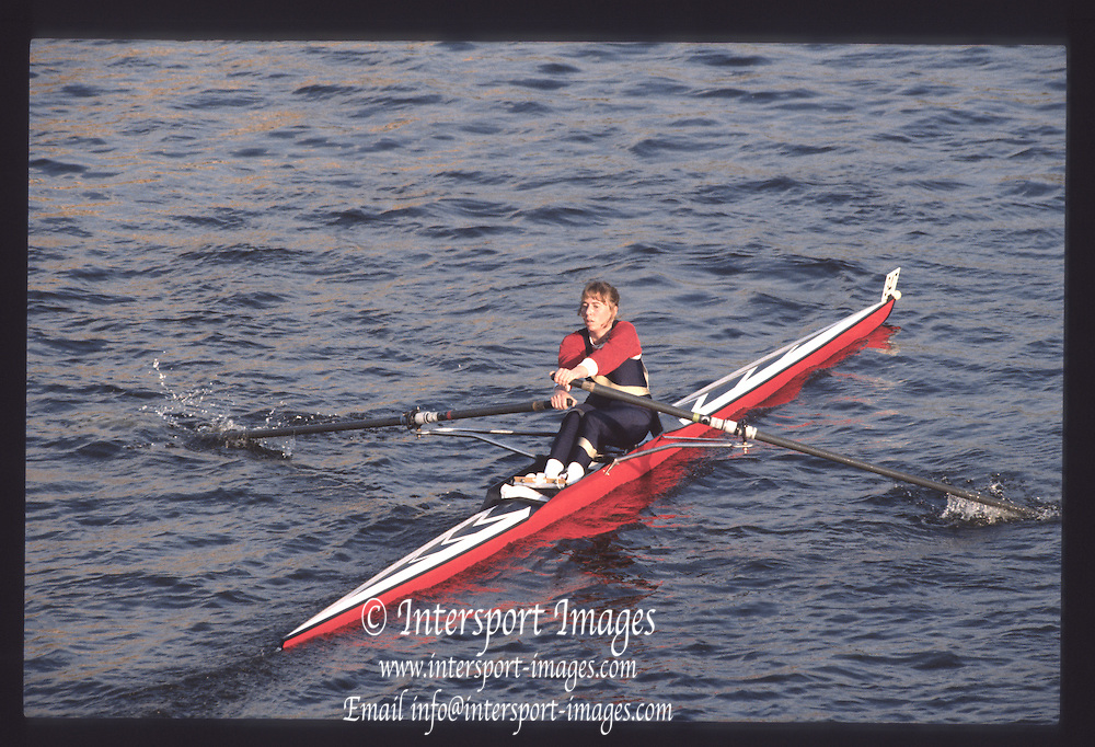 London. United Kingdom.  E. HOLMES.  1990 Scullers Head of the River Race. River Thames, viewpoint Chiswick Bridge Saturday 07.04.1990<br /> <br /> [Mandatory Credit; Peter SPURRIER/Intersport Images] 19900407 Scullers Head, London Engl