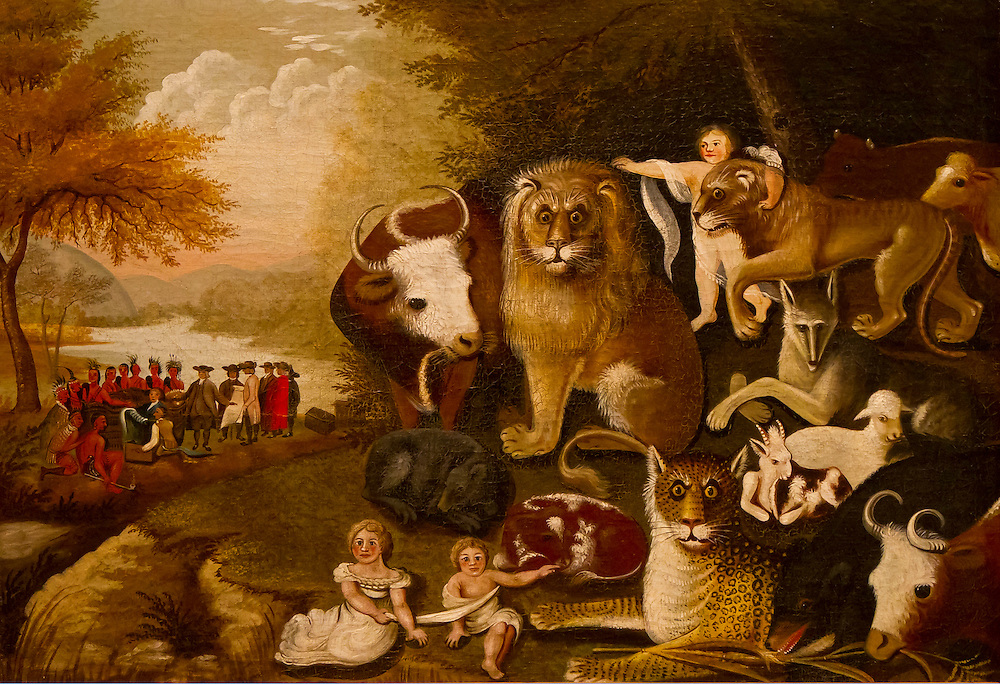 """An original painting known as """"Peaceable Kingdom"""" by Quaker Edward Hicks. This is one of many different versions he painted. Brooklyn Museum."""