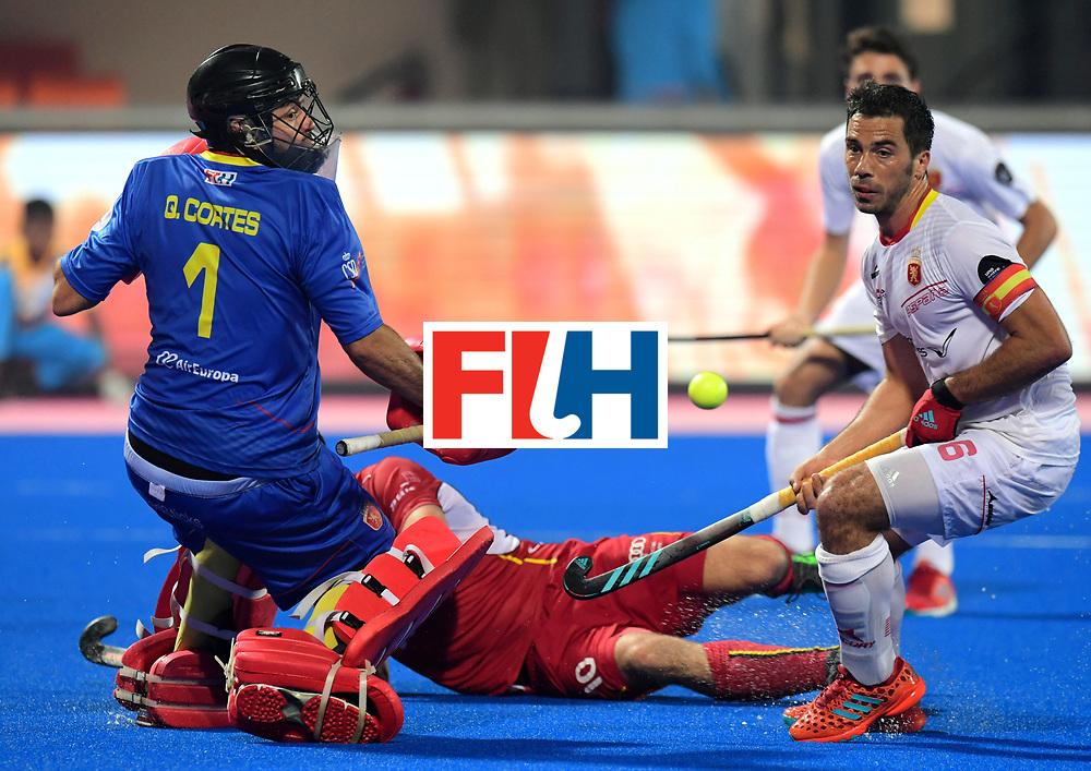 Odisha Men's Hockey World League Final Bhubaneswar 2017<br /> Match id:07<br /> Belgium v Spain<br /> Foto: keeper Quico Cortes (Esp) and Miguel Delas (Esp) <br /> WORLDSPORTPICS COPYRIGHT FRANK UIJLENBROEK