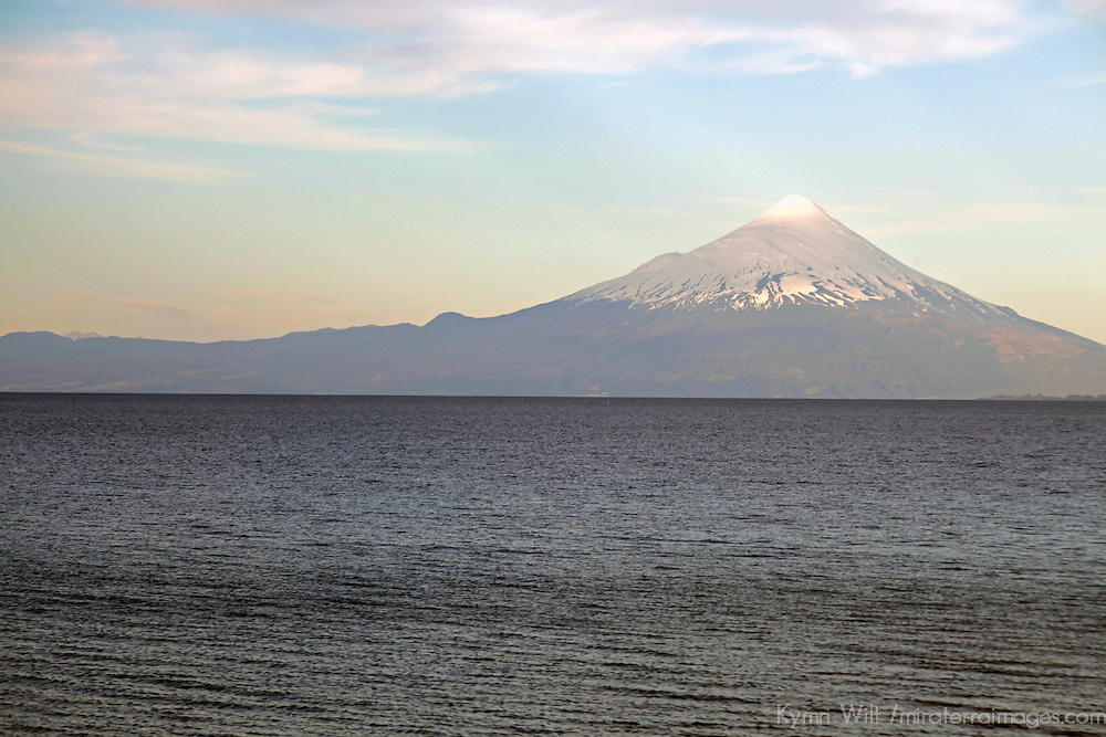 South America, Chile, Puerto Varas. Osorno Volcano and Llanquihue Lake.