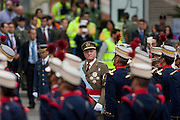 King of Spain Juan Carlos I, reviews the troops