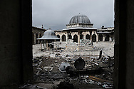 SYRIA, ALEPPO. The courtyard of the Umayyad Mosque riddled with bullet holes in the old part of Syria's northern city of Aleppo. ALESSIO ROMENZI