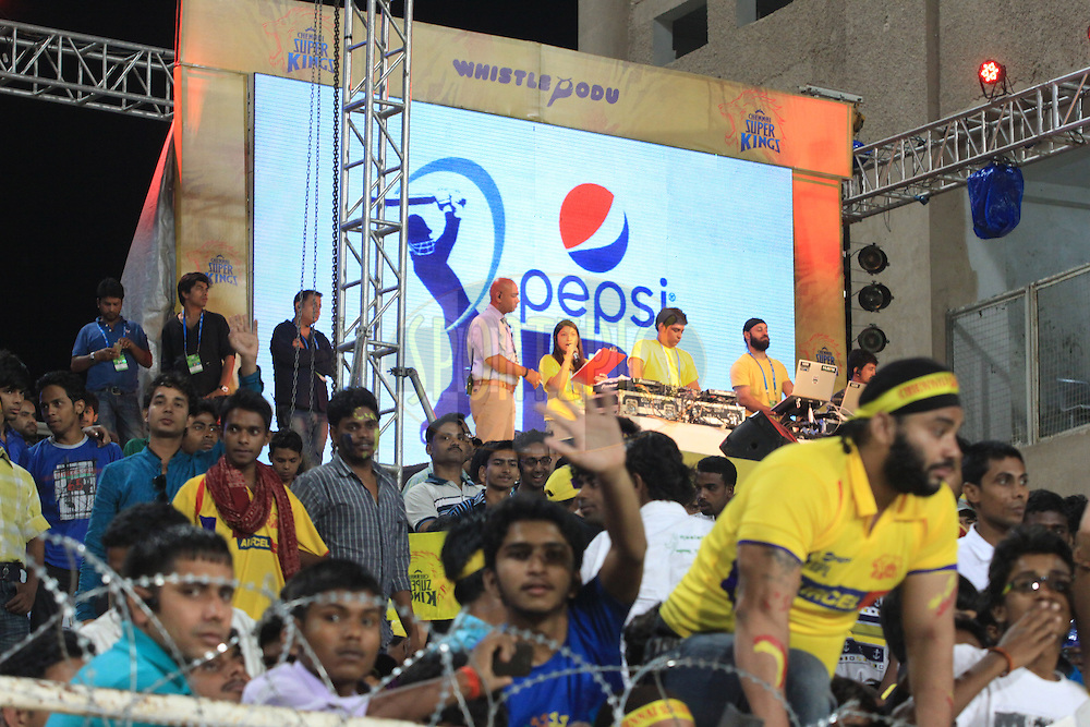 Dj during match 21 of the Pepsi Indian Premier League Season 2014 between the Chennai Superkings and the Kolkata Knight Riders  held at the JSCA International Cricket Stadium, Ranch, India on the 2nd May  2014<br /> <br /> Photo by Arjun Panwar / IPL / SPORTZPICS<br /> <br /> <br /> <br /> Image use subject to terms and conditions which can be found here:  http://sportzpics.photoshelter.com/gallery/Pepsi-IPL-Image-terms-and-conditions/G00004VW1IVJ.gB0/C0000TScjhBM6ikg