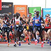 London, England, UK. 28 April 2019. Elite Start runners at Virgin Money London Marathon at Greenwich.