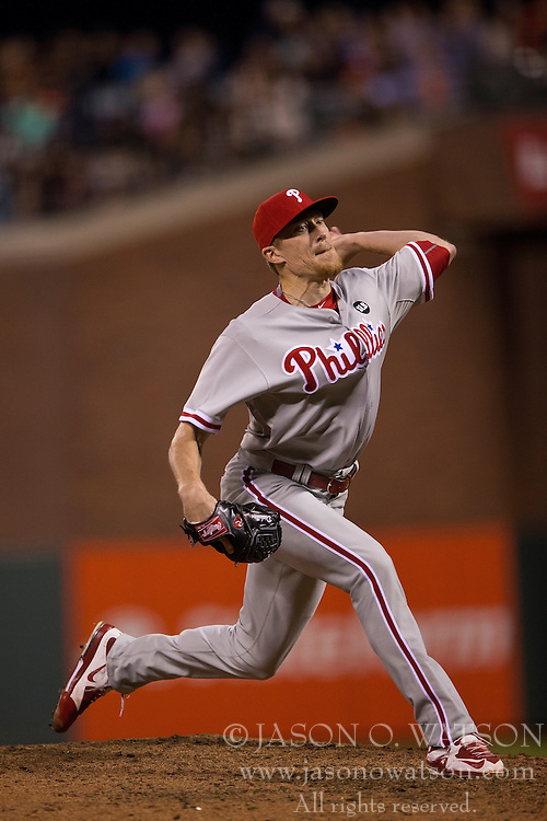 SAN FRANCISCO, CA - JULY 11:  Jake Diekman #63 of the Philadelphia Phillies pitches against the San Francisco Giants during the sixth inning at AT&T Park on July 11, 2015 in San Francisco, California.  The San Francisco Giants defeated the Philadelphia Phillies 8-5. (Photo by Jason O. Watson/Getty Images) *** Local Caption *** Jake Diekman