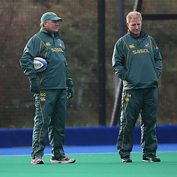 EDINBURGH, SCOTLAND - NOVEMBER 18,Gary Gold assistant coach and Dick Muir assistant coach during the South African rugby team field training session and team announcement at Peffermill Sports Complex on November 18, 2010 in Edinburgh, Scotland<br /> Photo by Steve Haag / Gallo Images
