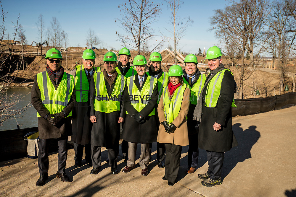 1/12/18 11:13:16 AM -- Halliburton CEO Jeff Miller and George Kaiser visit the Gathering Place for a press conference announcing Halliburton's support for the park. <br /> <br /> Photo by Shane Bevel