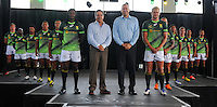 STELLENBOSCH, SOUTH AFRICA - Wednesday 20 January 2016, players with Mr Markus Jooste (CEO of Steinhoff International), and Mr Oregan Hoskins (President of SARU) during the launch of Springbok 7's new jersey with Steinhoff International as sponsor at the Markotter Indoor facility in Stellenbosch.<br /> Photo by Roger Sedres/ImageSA