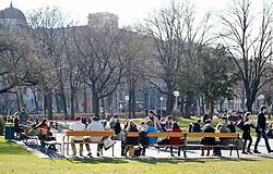 THEMENBILD - Fruehling in Wien. das Bild wurde am 15.  Maerz 2012 aufgenommen. im Bild Leute sitzen auf einer Bank im Sigmund Freud Park und geniessen die Sonne  // THEME IMAGE FEATURE - Springtime in Vienna. The image was taken on march, 15, 2012. Picture shows people sitting at park benches at Sigmund Freud Park and enjoying the sun, AUT, EXPA Pictures © 2012, PhotoCredit: EXPA/ M. Gruber