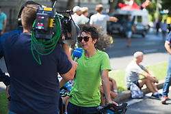 Giorgia Bronzini (ITA) of Cylance Pro Cycling is being interviewed before Stage 2 of the Madrid Challenge - a 100.3 km road race, starting and finishing in Madrid on September 16, 2018, in Spain. (Photo by Balint Hamvas/Velofocus.com)