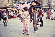 Japanese ladies in kimono at Sensoji (also known as Asakusa Kannon Temple) is a Buddhist temple located in Asakusa, Tokyo Japan.