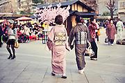 Japanese ladies in kimono at Sensoji (also known as Asakusa Kannon Temple) is a Buddhist temple located in Asakusa, Tokyo Japan.