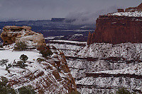 A fresh blanket of snow covers the Island in the Sky District of Canyonlands National Park in Late Winter.