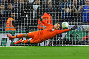 Ederson Moraes (31) of Manchester City saves David Luiz (30) of Chelsea penalty during the shoot out after the match finished 0-0 after extra time during the Carabao Cup Final match between Chelsea and Manchester City at Wembley Stadium, London, England on 24 February 2019.