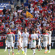 The USA players salute the crowd at the end of the game during the US Men's National Team Vs Turkey friendly match at Red Bull Arena.  The game was part of the USA teams three-game send-off series in preparation for the 2014 FIFA World Cup in Brazil. Red Bull Arena, Harrison, New Jersey. USA. 1st June 2014. Photo Tim Clayton