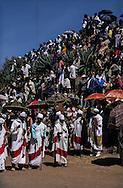 Ethiopia. Lalibela. Timkat orthodox epiphany, procession of the tabots (covenant ark) in the Church Bieta Ghiorgis (Saint Georges house)      / procession des tabots (arche díalliance), Timkat fete orthodoxe de líepiphanie,   Lalibela  Ethiopie