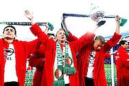 24-04-2016 VOETBAL: KNVB BEKERFINALE FEYENOORD-FC UTRECHT: ROTTERDAM <br /> <br /> Dirk Kuyt van Feyenoord viert de KNVB beker met Sven van Beek van Feyenoord en Eric Botteghin van Feyenoord <br /> <br /> foto: Geert van Erven