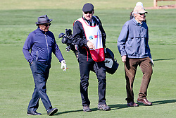 """Feb 6, 2019 Pebble Beach, Ca. USA TV, Film and singing stars that included ANDY GARCIA, SIR NICK FALDO whom caddied for CLINT EASTWOOD whom played in the """"3M Celebrity Challenge"""" to try for part of the 100K purse to go to their favorite charity and win the Estwood-Murray cup, for which team Clint Eastwwod's group won.. The event took place during practice day of the PGA AT&T National Pro-Am golf on the Pebble Beach Golf Links. Photo by Dane Andrew c. 2019 contact: 408 744-9017  TenPressMedia@gmail.com"""