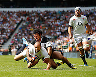 Anthony Tuitavake of the Barbarians can't stop Charlie Sharples of England scoring their 2nd try during the International Test Match match at Twickenham Stadium, Twickenham<br /> Picture by Andrew Tobin/Focus Images Ltd +44 7710 761829<br /> 01/06/2014