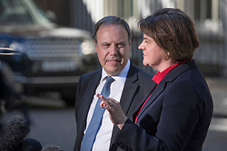 © Licensed to London News Pictures. 02/07/2018. London, UK. DUP Leader Arlene Foster and Nigel Dodds MP talk to reporters in Downing Street after talks with Prime Minister Theresa May. Photo credit: Peter Macdiarmid/LNP