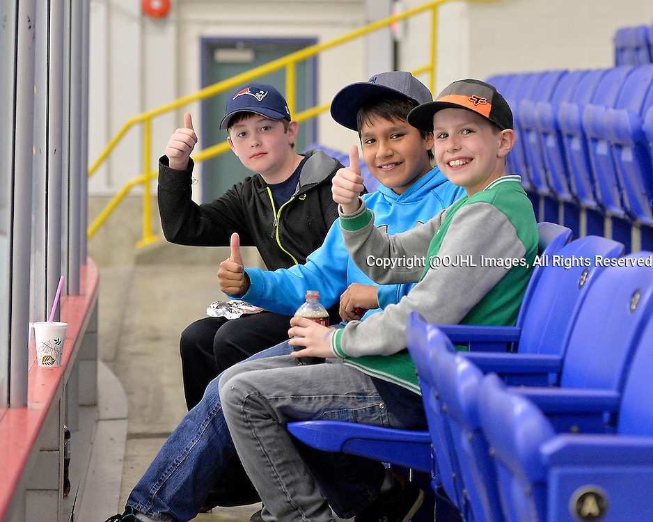 FORT FRANCES, ON - Apr 28, 2015 : Central Canadian Junior &quot;A&quot; Championship, game action between the Toronto Patriots and the Fort Frances Lakers, game two of the Dudley Hewitt Cup. Young Fort Frances fans get ready for the game.<br /> (Photo by Shawn Muir / OJHL Images)