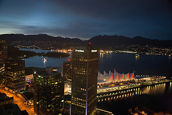 Aerial view of downtown Vancouver at night, British Columbia, Canada