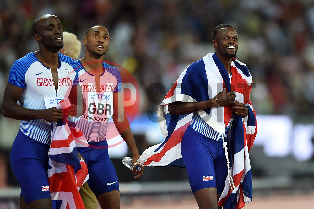 The Great Britain team celebrate a bronze medal finish - Mandatory byline: Patrick Khachfe/JMP - 07966 386802 - 13/08/2017 - ATHLETICS - London Stadium - London, England - Men's 4x400m Metres Relay Final - IAAF World Championships