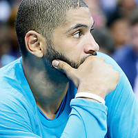 03 November 2015: Charlotte Hornets forward Nicolas Batum (5) is seen on the bench during the Charlotte Hornets  130-105 victory over the Chicago Bulls, at the Time Warner Cable Arena, in Charlotte, North Carolina, USA.
