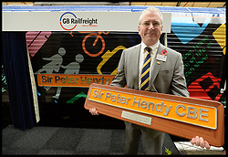 Sir Peter Hendy CBE has the 66718 locomotive named Sir Peter Hendy CBE, after him By GB RailFreight at Victoria Station. London, United Kingdom. It's to mark the 150th anniversary of the London Underground the two locomotives are unveiled dedicated to Transport for London Commissioner, Sir Peter Hendy CBE, and Harry Beck, the designer of the original Tube map. The locos will now be used by GB Railfreight for freight services for Crossrail and the renewal of the London Underground infrastructure.Tuesday, 5th November 2013. Picture by Andrew Parsons / i-Images