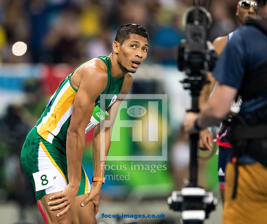 Wayde Van Niekerk of South Africa takes Gold and breaks the World Record in the Men's 400m Final on day nine of the XXXI 2016 Olympic Summer Games in Rio de Janeiro, Brazil.<br /> Picture by EXPA Pictures/Focus Images Ltd 07814482222<br /> 14/08/2016<br /> *** UK &amp; IRELAND ONLY ***<br /> <br /> EXPA-GRO-160815-5336.jpg