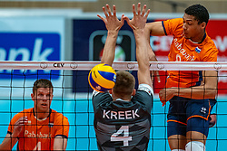 12-06-2019 NED: Golden League Netherlands - Estonia, Hoogeveen<br /> Fifth match poule B - The Netherlands win 3-0 from Estonia in the series of the group stage in the Golden European League / Fabian Plak #8 of Netherlands, Ardo Kreek #4 of Estonia